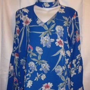 Liberty Love Sz Med Blue Floral Choker Neck Top